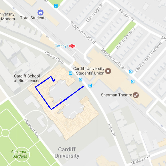 Map to the School of Chemistry Wing of the Cardiff University Main Building